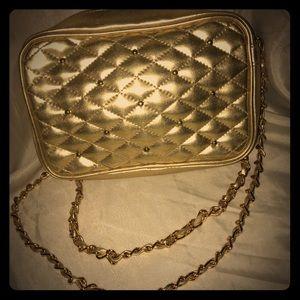 Vintage 90's Chateau Gold Vinyl Crossbody Bag